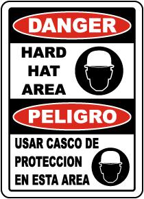 Bilingual Danger Hard Hat Area Sign