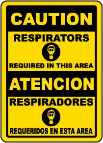Bilingual Respirators Required Sign