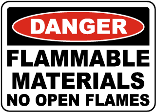 Flammable Materials No Open Flame Sign