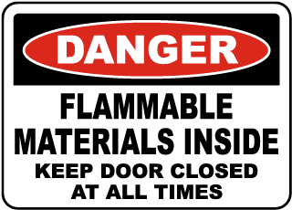 Flammable Materials Inside Sign