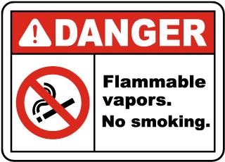 Flammable Vapors No Smoking Sign