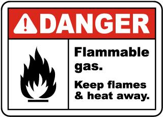 Flammable Gas Keep Flames Away Sign