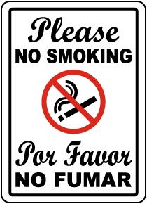 Bilingual Please No Smoking Sign