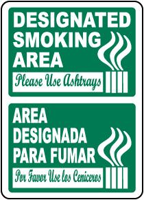 Bilingual Designated Smoking Area Use Ashtrays Sign