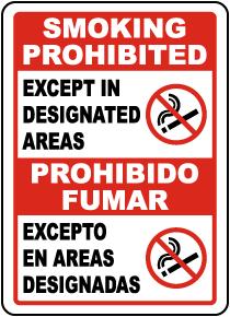 Bilingual Smoking Prohibited Except In Designated Areas Sign