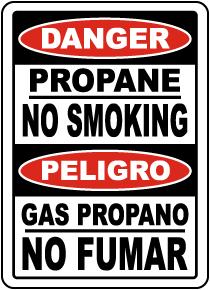 Bilingual Propane No Smoking Sign