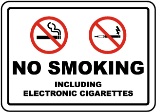 No Smoking Including Electronic Cigarettes Label