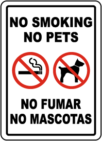 Bilingual No Smoking No Pets Label