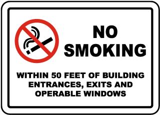No Smoking Within 50 Feet Label