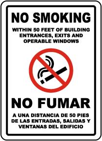 Bilingual No Smoking Within 50 Feet Label