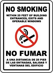 Bilingual No Smoking Within 25 Feet Label