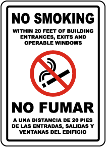 Bilingual No Smoking Within 20 Feet Label