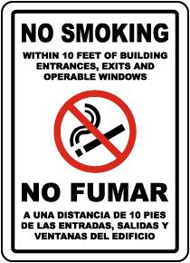 Bilingual No Smoking Within 10 Feet Label
