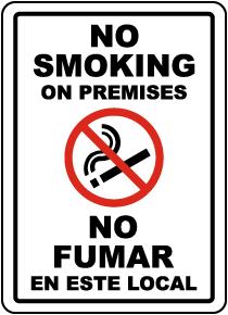 Bilingual No Smoking on Premises Label