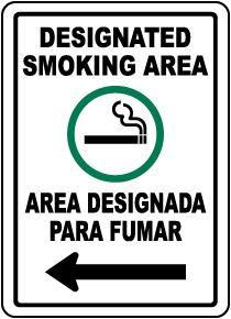 Bilingual Designated Smoking Area Left Arrow Sign