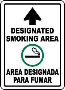 Bilingual Designated Smoking Area Up Arrow Sign