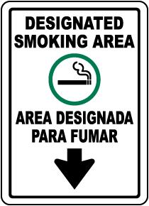 Bilingual Designated Smoking Area Down Arrow Sign