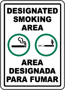 Bilingual Designated Smoking Area Sign