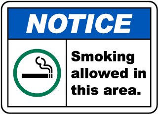 Smoking Allowed in This Area Sign