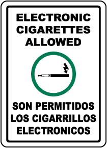 Bilingual Electronic Cigarettes Allowed Sign