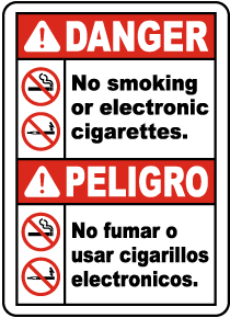 Bilingual No Smoking or Electronic Cigarettes Sign