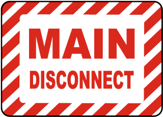 Main Disconnect Label