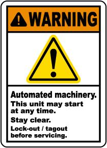 Warning Automated Machinery Label