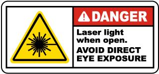 Danger Laser Light When Open Label