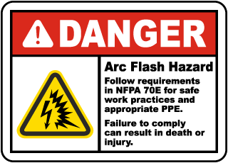 Danger Arc Flash Hazard Label