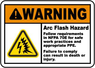 Warning Arc Flash Hazard Label