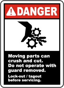 Moving Parts Can Crush and Cut Label