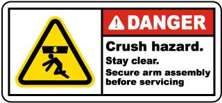 Crush Hazard Stay Clear Label