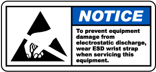 Notice Wear ESD Wrist Strap Label