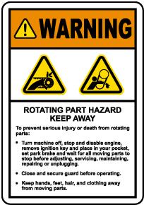 Rotating Hazard Keep Away Label