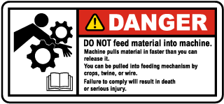 Rotating Parts Do Not Feed Material Label