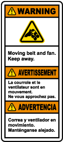 Multilingual Moving Belt and Fan Keep Away Label