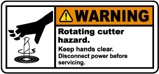 Rotating Cutter Hazard Label