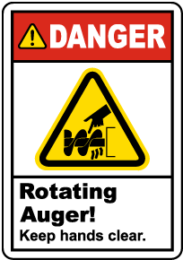 Rotating Auger Keep Clear Label