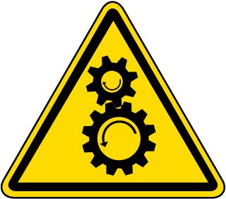 Rotating Gears Warning Label