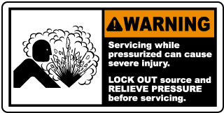 Lock Out and Relieve Pressure Label