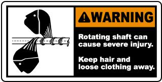 Keep Hair & Loose Clothing Away Label