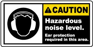 Caution Hazardous Noise Level Label