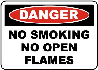 No Smoking No Open Flames Label