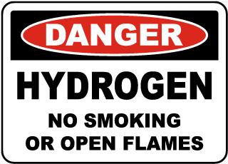 Danger Hydrogen No Smoking Label