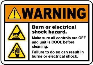 Burn or Electrical Shock Hazard Label