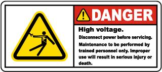 Danger High Voltage Disconnect Label