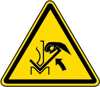 Hand Crushing Between Press Brake and Material Warning Label