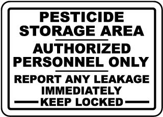 Pesticide Storage Area Sign