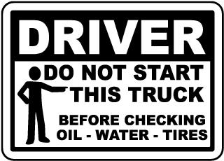 Do Not Start Truck Checklist Label