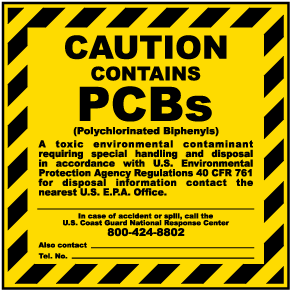 Caution Contains PCBs Label
